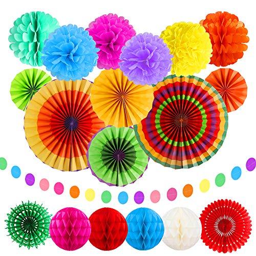 20 STKS regenboog hangende papier fans decoratie set, kleurrijke hangende papieren pompons bloem honingraat ballen slingers Mexicaanse polka dot voor bruiloft, carnaval, festival en feest