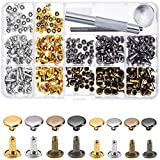 240 Sets Leather Rivets, Alritz Double Cap Rivet Tubular 4 Colors 2 Sizes Metal Studs with Fixing Tools for...