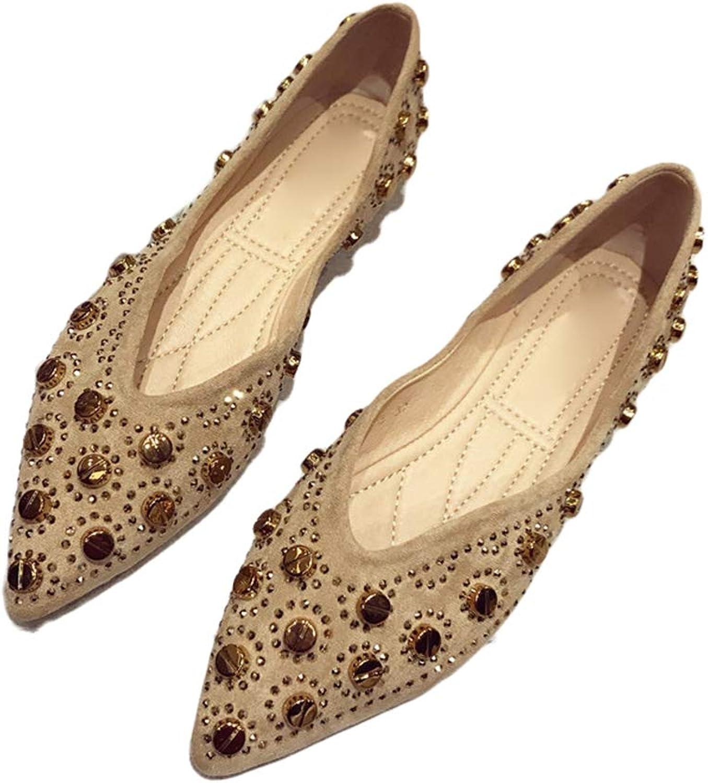 August Jim Women's Ballet Comfort Pointed Toe Light Faux Suede Flats shoes