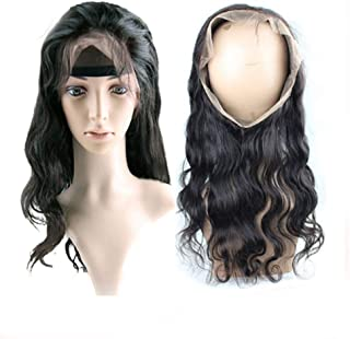 Hair Extension Weave Fashian 360° Hair Piece Real Hair Hair Full Handmade Full Lace Wig Long Curly Hair Can Be Dyed Beautiful Hairpieces (Color : Black, Size : 12inch)
