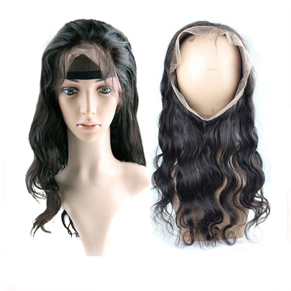 保存引く未就学BOBIDYEE 360°ヘアピース本物の髪の毛フルハンドメイドフルレースウィッグロングカーリーヘアは染めることができます複合ヘアレースウィッグロールプレイングかつら (色 : 黒, サイズ : 12inch)