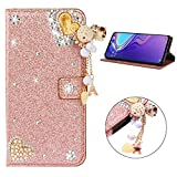 Miagon Diamond Case for Samsung Galaxy Note 10,Luxury Glitter Rhinestone Heart PU Leather Folio Flip Wallet Cover Magnetic Closure Card Slots Case Cover,Rose Gold