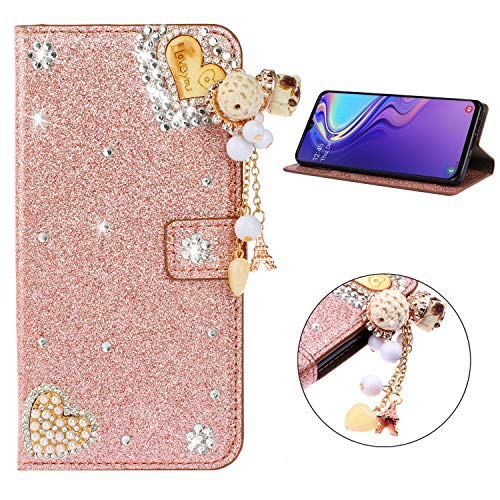 Miagon Diamond Case for Samsung Galaxy A20,Luxury Glitter Rhinestone Heart PU Leather Folio Flip Wallet Cover Magnetic Closure Card Slots Case Cover,Rose Gold