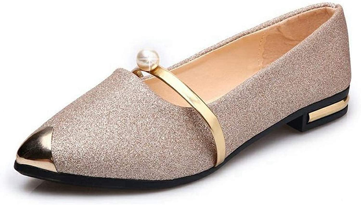 Drew Toby Women's Flats,Stylish Sequin Comfortable gold Silver Four Seasons shoes