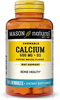 Mason Natural, Chewable Calcium 600 with Vitamins D3, Coffee Mocha Flavor, 100-Count (Pack of 3), Chewable Vitamins Suppor...