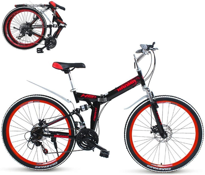 garantizado Wyfdm Bicicletas, Bicicleta de Montaña Velocidad Bicicleta de Montaña Montaña Montaña Plegable de 21 velocidades Bicicleta de 24 y 26 Pulgadas Frenos de Doble Disco Ciclismo Bicicleta Bicicleta de Montaña Plegable  Vuelta de 10 dias