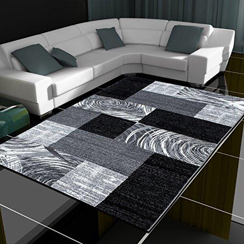 Tappeto moderno design patchwork a pelo corto soggiorno diversi colori e misure, Polipropilene, Black, 80 x 150 cm