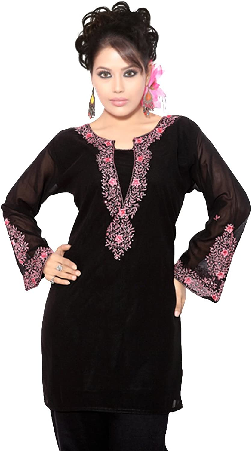Indian Selections Black Long Sleeves Kurti Tunic with Designer Embroidery