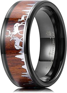 THREE KEYS JEWELRY 8mm Deer Family Tungsten Wedding Rings Black KOA Sandal Wood Ebony Hunting Bands for Men