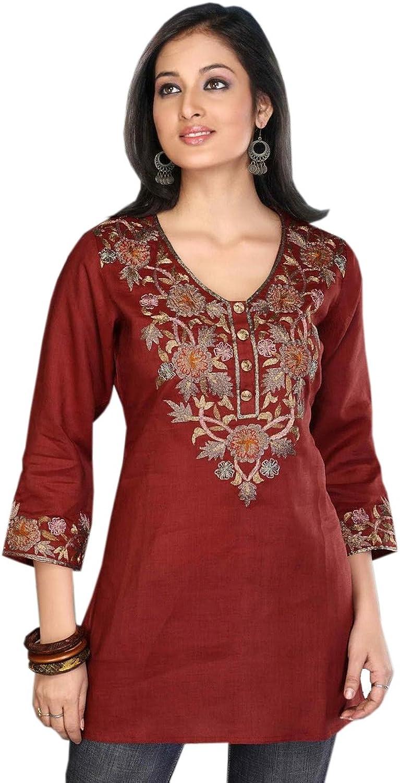 1545 Designs Women's Maroon Silk Cotton Top