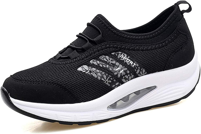 YAN Frauen Casual Casual Casual schuhe Mesh Sportschuhe Spitze bis in die Now-Top Turnschuhe Non-Slip Running Schuhe Athletic Schuhe Trainings-Schuhe,schwarz,35  5bc43e