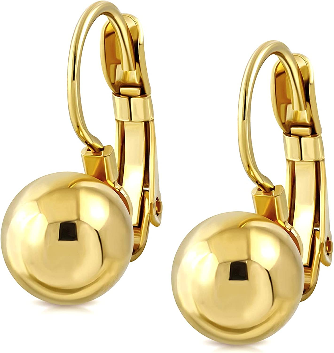 555Jewelry Womens Stainless Steel Bead Ball Round Dangle Drop Leverback Earrings