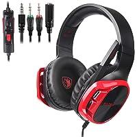 Sades R17 Over-Ear 3.5mm Gaming Headphones (Black & Red)