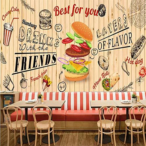 DZBHSCL 4D Behang muurschilderingen, Cartoon Lekkere Burger Pizza drank Groot Kunstdruk Wallpaper Poster voor Burgers Fast Food Restaurant Snack Bar Achtergrond Wand 100in×144in 250cm(H)×360cm(W)