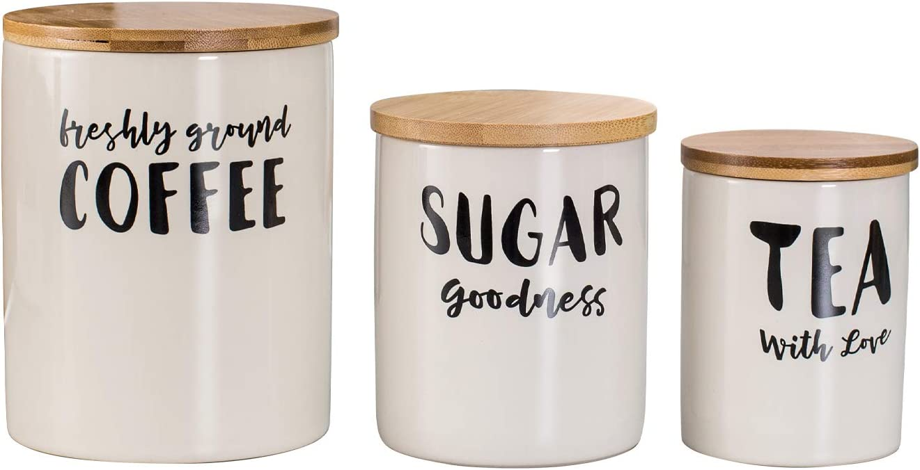 Hasense Porcelain Coffee Sugar Canisters Set of 3 for Kitchen Counter, White Ceramic Food Storage Jar Container Set with Airtight Seal Lid for Tea Sugar and Ground Coffee