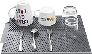 hicorfe Dish Drying Mat - Easy Clean Dishwasher Safe - Heat Resistant Eco-Friendly Silicone Trivet Black Large-BPA Free - ...
