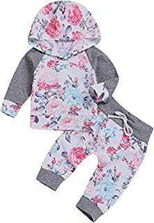 FUTERLY Toddler Baby Girl Clothes Long Sleeve Hoodie Sweatshirt and Floral Long Pants Outfit Sets(6-12M 80) Grey