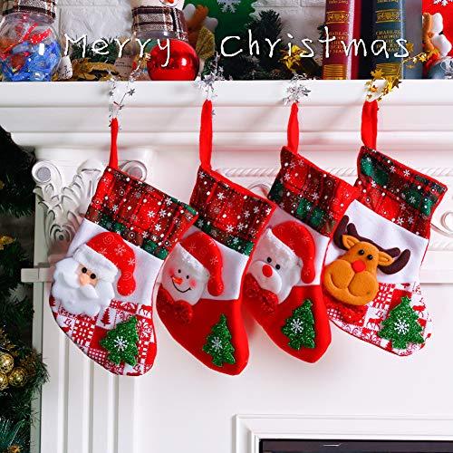 SKY TEARS Calza di Natale Decorazioni Natalizie 4 Pezzi Sacchetto Regalo di Natale Babbo Natale Pupazzo di Neve Alce Sacchetto di Caramelle per Forniture Feste Regalo di Natale Deco