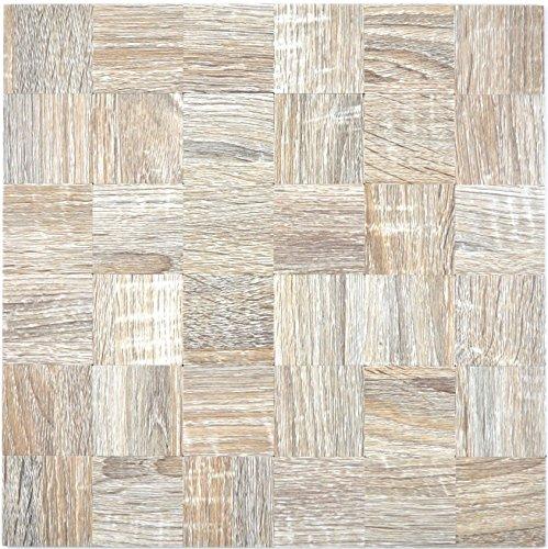 Mozaïek tegels mozaïektegels metaalmozaïek tegel beige houtlook mat keukentegel wc tegelspiegel tegel | 10 mozaïekmatten