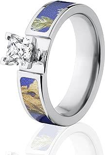 Camo Wedding Rings, Realtree AP Purple Camo Rings with 1 CTW 14k Setting