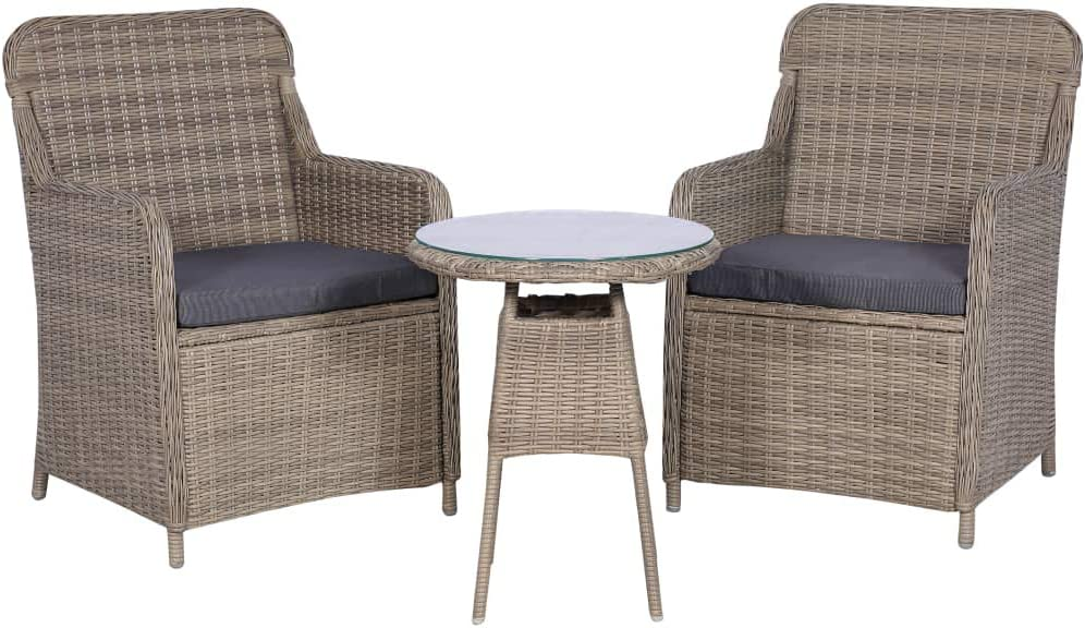 FAMIROSA 3 Piece Bistro Set Rattan It is very popular BrownB Beauty products with Cushions Poly