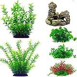 Decoraciones para acuario, plantas artificiales de plástico con resina, escondite rocoso, 6 piezas de plantas de acuario, decoración de pecera, acuario realista