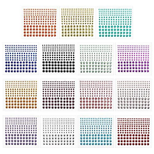 Rhinestone Stickers,Self-Adhesive Rhinestones,DIY Self Adhesive Gem Rhinestone Embellishment Stickers,Ideal for Face,Body,Carnival,Crafts&Embellishments (15 Sheets)