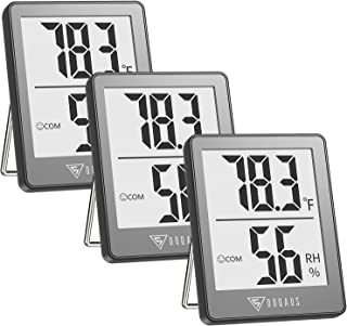 DOQAUS Indoor Thermometer [3 Packs], Mini Digital Hygrometer Room Thermometer, Humidity Meters, Accurate Temperature Humid...
