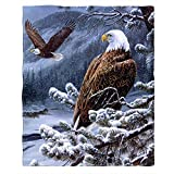 Moslion Soft Cozy Throw Blanket Bald Eagle Fuzzy Warm Couch/Bed Blanket for Adult/Youth Polyester 60 X 80 Inches(Home/Travel/Camping Applicable)