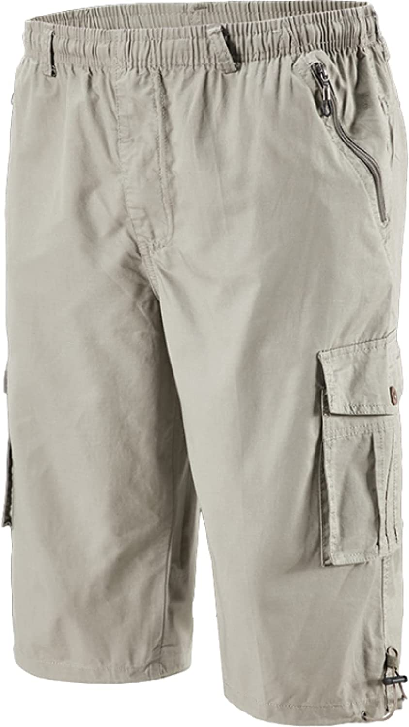 Katenyl Men's Plus Size Cargo Shorts Thin Solid Color Loose Stitching Big Pocket
