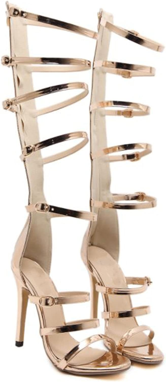Linson123 Women's High Heels Thigh High Lace High Heel Sandals Party Boots