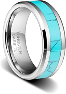 TUSEN JEWELRY 8MM Mens Birthstone Silver Tungsten Ring Turquoise Inlay Beveled Edge Wedding Band
