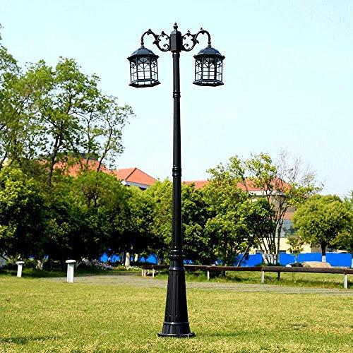 QULONG Poste de luz Tradicional para Exteriores, Aluminio Fundido, Doble Cabezal, iluminación de Paisaje, farola Vintage, Vidrio Transparente, Exterior, jardín, Entrada, Patio, lámpara