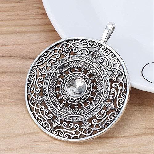 huangshuhua Collar 5 Piezas Plata tibetana Filigrana Grande Mandala Flor Colgante de dijes Redondos para Collar fabricación de Joyas 68Mm
