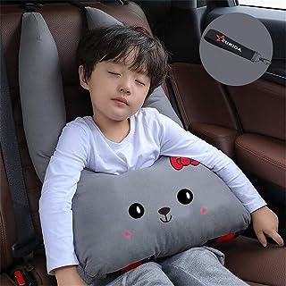 Zukida カバー 子供 漫画車のヘッドレスト枕車の首枕 高さ調節可 頚部保護 カー用品 車座席用 車用ステッカー 睡眠への子供の車かわいい (グレー1)