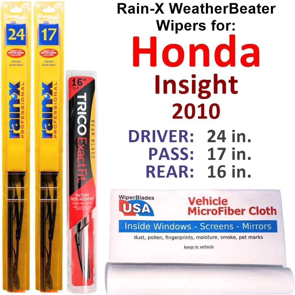 物品 Rain-X WeatherBeater Wipers for 毎日続々入荷 2010 Honda Insight Rear w Ra Set