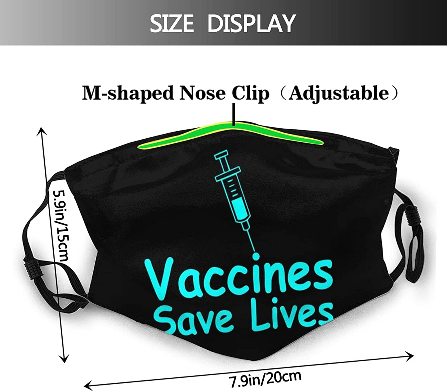 gmani Vaccinated Save Lives Face Mask Washable Reusable Adjustable Breathable Cloth Balaclavas for Adult Men Women