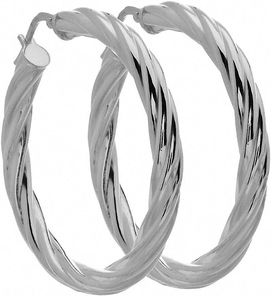 Amoro Italian Sterling Silver Medium Twist Fees free Hoop Dedication 38mm x Earrings