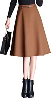 Women's High Waist A-line Flared Midi Wool Blend Skirt