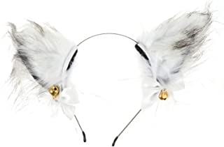 SOLUSTRE Räv öra hårband med klockor vit vacker kreativ duk pannband djur fuskpäls plysch hår hoop för halloween cosplay p...