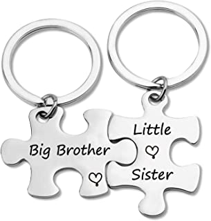 G-Ahora Brother Sister Keychain Brother Sister Gifts Big Sister Little Brother Sibling Puzzle Keychain