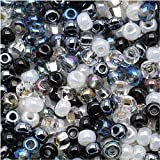 Jablonex Czech Seed Beads Mix, 1-Ounce, Size 6/0, Top Hat Black, White and Silver