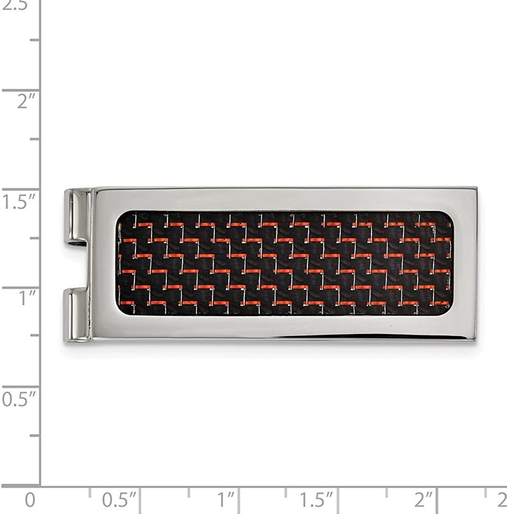 Stainless Steel Polished with Black and Red Carbon Fiber Inlay Money Clip (19.9mm x 53.7mm)