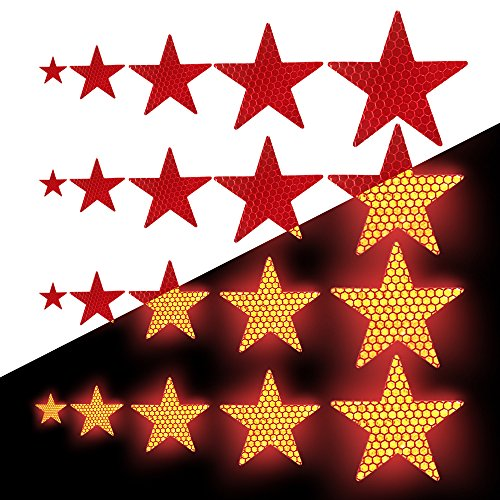 Tuqiang Sternform Reflektierendes Klebeband Wasserdicht Selbstklebend Für Scooter Tractor Excavator Hohe Sichtbarkeit Band Sicherheit im Freien Reflektierend Aufkleber 25 Stück Rot