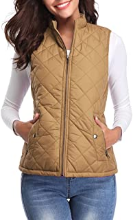 Women's Quilted Vest, Stand Collar Lightweight Zip Padded...