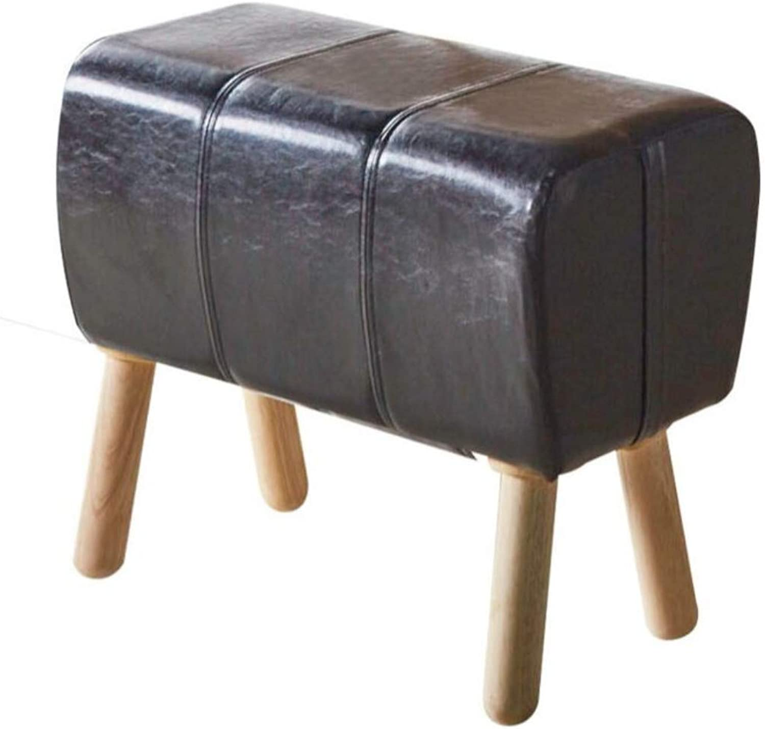 Benjara BM193787 Backless Stool with Wooden Round Flared Legs, Black and Brown