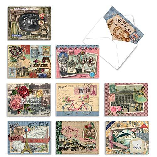 The Best Card Company - Box of 10 Blank Note Cards (4 x 5.12 Inch) - Artistic Classic Artwork, Bulk Assorted Cards - Papiers De Paris M6624OCB