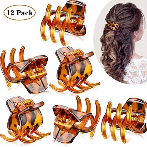 12 Stücke Haar Klaue Clips Mittelgroße Haar Klaue 1,3 Zoll Haarbackenclip Klaue Clip Griff für Frauen Mädchen Dickes oder Mittleres Haar (Braun)