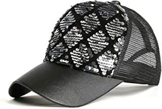 MKJNBH Sequins Baseball Cap Fashion Diamond Lattice Mesh Multicolor Visor Outdoor Casual Unisex Bend Caps