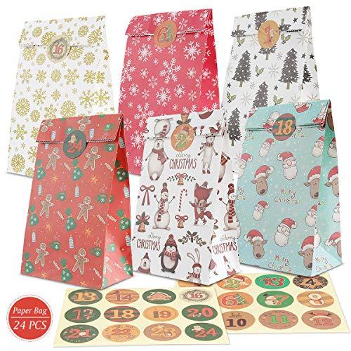 Orlegol Adventskalender zum Befüllen -Papier Tüten, Adventskalender Tüten mit 1-24 Adventskalender Zahlen, 24 Geschenk Tüten Kraftpapiertüten, Partytüten Kindergeburtstag, Weihnachtskalender Bastelset